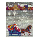 Vintage Christmas, Santa Claus Horse Open Sleigh Post Cards