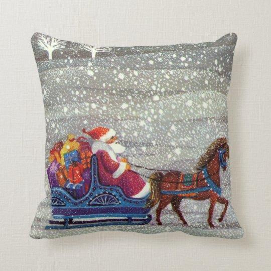 Vintage Christmas, Santa Claus Horse Open Sleigh Throw Pillow