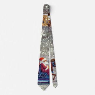 Vintage Christmas, Santa Claus Horse Open Sleigh Tie