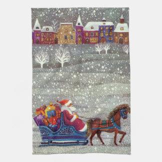 Vintage Christmas, Santa Claus Horse Open Sleigh Towel