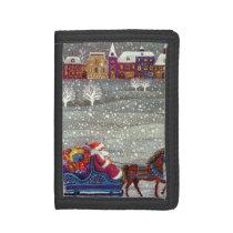 Vintage Christmas, Santa Claus Horse Open Sleigh Tri-fold Wallet