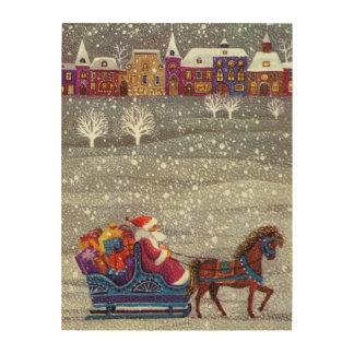 Vintage Christmas, Santa Claus Horse Open Sleigh Wood Print