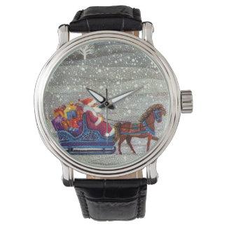 Vintage Christmas, Santa Claus Horse Open Sleigh Wrist Watches