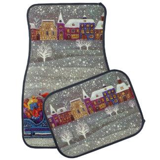 Vintage Christmas, Santa Claus Horse Open Sleigh Floor Mat