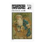 Vintage Christmas Santa Claus in Blue Postage
