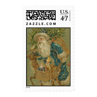 Vintage Christmas Santa Claus in Blue Postage
