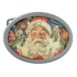 Vintage Christmas, Santa Claus in Sleigh with Toys Belt Buckles