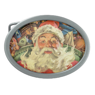Vintage Christmas, Santa Claus in Sleigh with Toys Oval Belt Buckle
