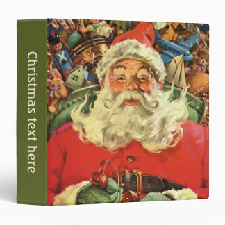 Vintage Christmas, Santa Claus in Sleigh with Toys Binders