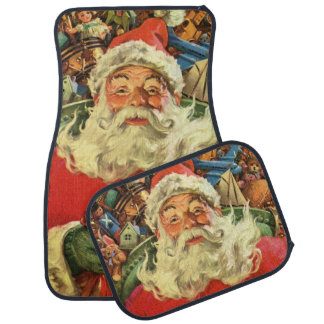Vintage Christmas, Santa Claus in Sleigh with Toys Car Floor Mat