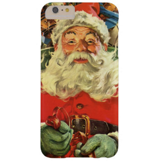 Vintage Christmas, Santa Claus in Sleigh with Toys Barely There iPhone 6 Plus Case