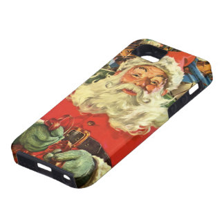 Vintage Christmas, Santa Claus in Sleigh with Toys iPhone 5 Cases