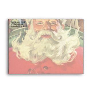 Vintage Christmas, Santa Claus in Sleigh with Toys Envelope