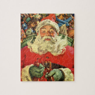 Vintage Christmas, Santa Claus in Sleigh with Toys Jigsaw Puzzle