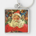 Vintage Christmas, Santa Claus in Sleigh with Toys Silver-Colored Square Keychain