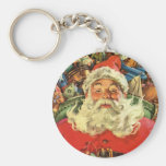 Vintage Christmas, Santa Claus in Sleigh with Toys Keychain