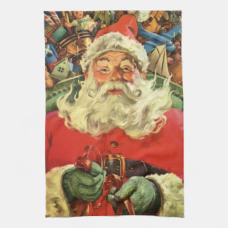 Vintage Christmas, Santa Claus in Sleigh with Toys Kitchen Towel
