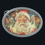 """Vintage Christmas, Santa Claus in Sleigh with Toys Oval Belt Buckle<br><div class=""""desc"""">Vintage illustration Merry Christmas holiday image featuring a jolly Santa Claus flying his sleigh with a sack full of games,  toys and dolls. You can see Santa&#39;s long white beard blowing in the wind!</div>"""