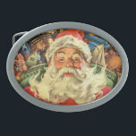 "Vintage Christmas, Santa Claus in Sleigh with Toys Oval Belt Buckle<br><div class=""desc"">Vintage illustration Merry Christmas holiday image featuring a jolly Santa Claus flying his sleigh with a sack full of games,  toys and dolls. You can see Santa&#39;s long white beard blowing in the wind!</div>"