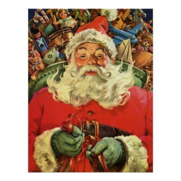 Christmas Themed Vintage Christmas, Santa Claus in Sleigh with Toys Poster