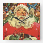 Vintage Christmas, Santa Claus in Sleigh with Toys Square Wall Clock