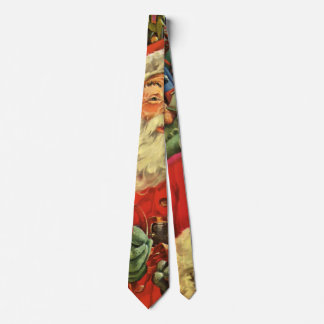 Vintage Christmas, Santa Claus in Sleigh with Toys Tie
