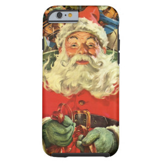 Vintage Christmas, Santa Claus in Sleigh with Toys Tough iPhone 6 Case