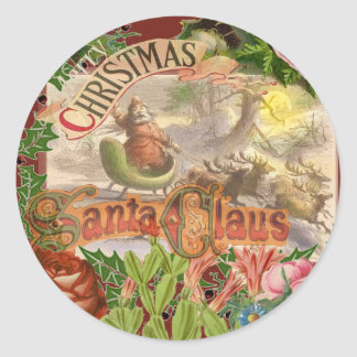 Vintage Christmas Santa Claus in Victorian Sleigh Classic Round Sticker