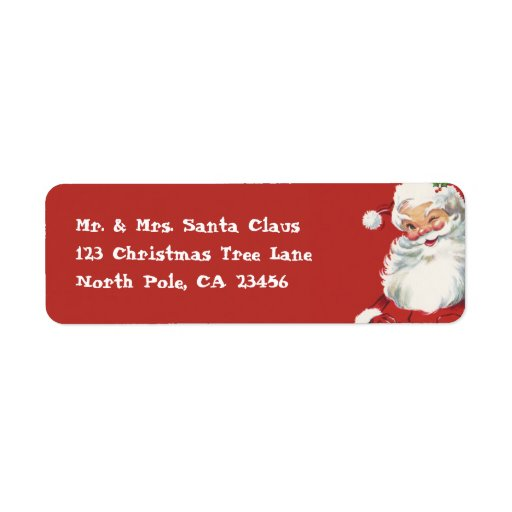 Vintage Christmas Santa Claus Custom Return Address Labels