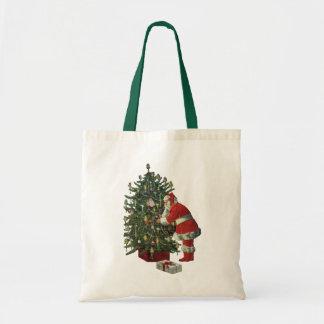 Vintage Christmas, Santa Claus Lit Candles on Tree Canvas Bag