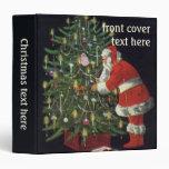Vintage Christmas, Santa Claus Lit Candles on Tree 3 Ring Binders