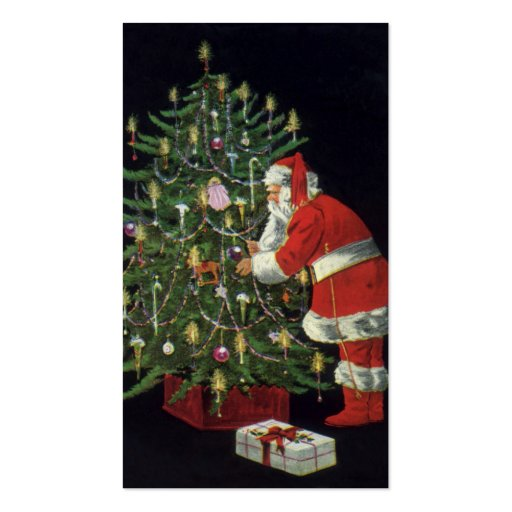 Vintage Christmas, Santa Claus Lit Candles on Tree Business Card