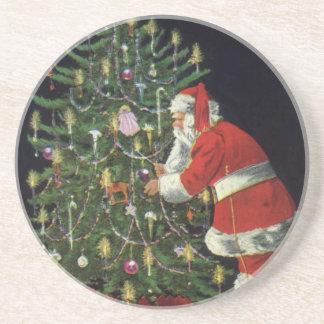Vintage Christmas, Santa Claus Lit Candles on Tree Beverage Coasters