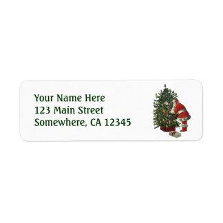 Vintage Christmas, Santa Claus Lit Candles on Tree Labels