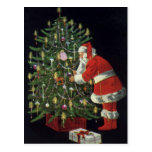 Vintage Christmas, Santa Claus Lit Candles on Tree Post Cards