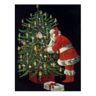 Vintage Christmas Santa Claus Lit Candles on Tree Post Cards