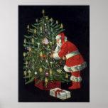 Vintage Christmas, Santa Claus Lit Candles on Tree Print