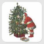 Vintage Christmas, Santa Claus Lit Candles on Tree Sticker