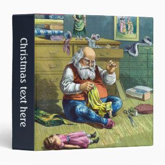Vintage Christmas, Santa Claus Making Toy Dolls Vinyl Binder
