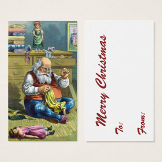Vintage Christmas, Santa Claus Making Toy Dolls Business Card