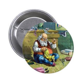Vintage Christmas, Santa Claus Making Toy Dolls Button