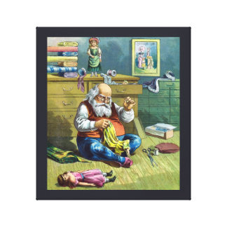 Vintage Christmas Santa Claus Making Toy Dolls Canvas Print