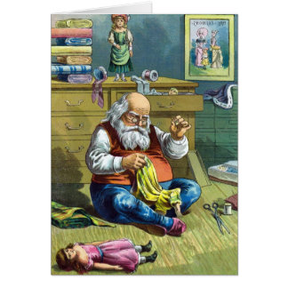 Vintage Christmas, Santa Claus Making Toy Dolls Card