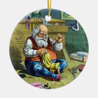 Vintage Christmas, Santa Claus Making Toy Dolls Ceramic Ornament