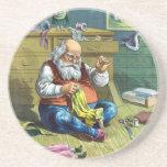 Vintage Christmas, Santa Claus Making Toy Dolls Beverage Coaster