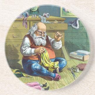 Vintage Christmas, Santa Claus Making Toy Dolls Coaster