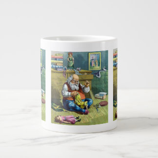 Vintage Christmas, Santa Claus Making Toy Dolls Giant Coffee Mug