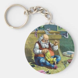Vintage Christmas, Santa Claus Making Toy Dolls Keychain