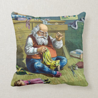 Vintage Christmas Santa Claus Making Toy Dolls Pillow