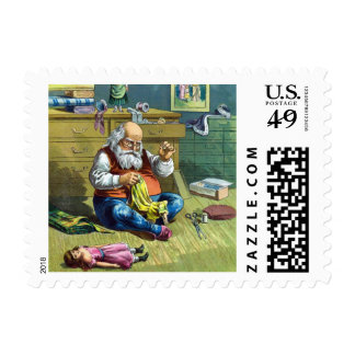 Vintage Christmas, Santa Claus Making Toy Dolls Postage